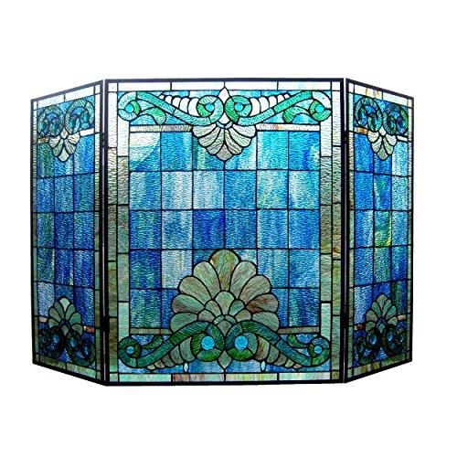 Chloe Lighting 3 Piece Keanu Tiffany-Style Folding Victorian Glass Fireplace Screen, One Size, Multicolor