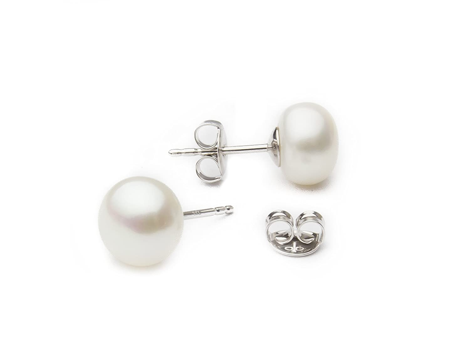 stud earrings pearl gold white freshwater