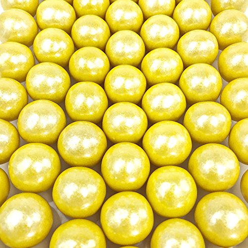 Shimmer Yellow Gumballs - 2 Pound Bags - Large - One Inch in Diameter - About 120 Gumballs Per Bag - Free How To Build a Candy Buffet Guide Included]()