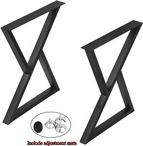 "Weven Industrial Metal Modern 2 Pcs Furniture Legs Rustic Decory Triangle Shape Table Legs,Heavy Duty Metal Desk Legs,Dining Table Legs,DIY Cast Iron Bench Legs,Black (H28""xW24"")"