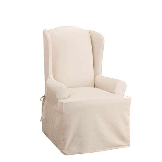 Outstanding Surefit Duck Solid Wing Chair Slipcover Natural Machost Co Dining Chair Design Ideas Machostcouk