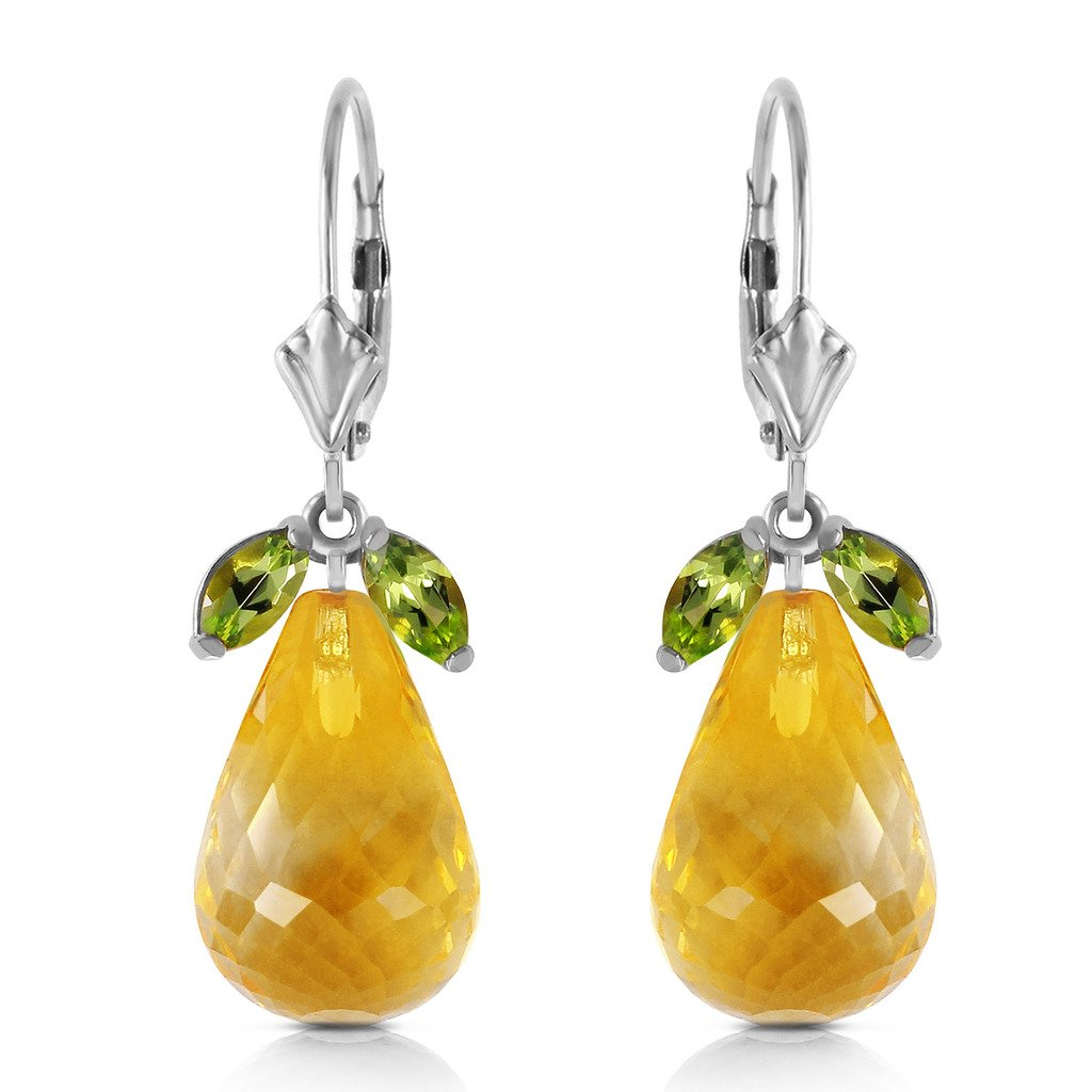 14k White Gold Leverback Earrings with Peridots and Citrines by Galaxy Gold