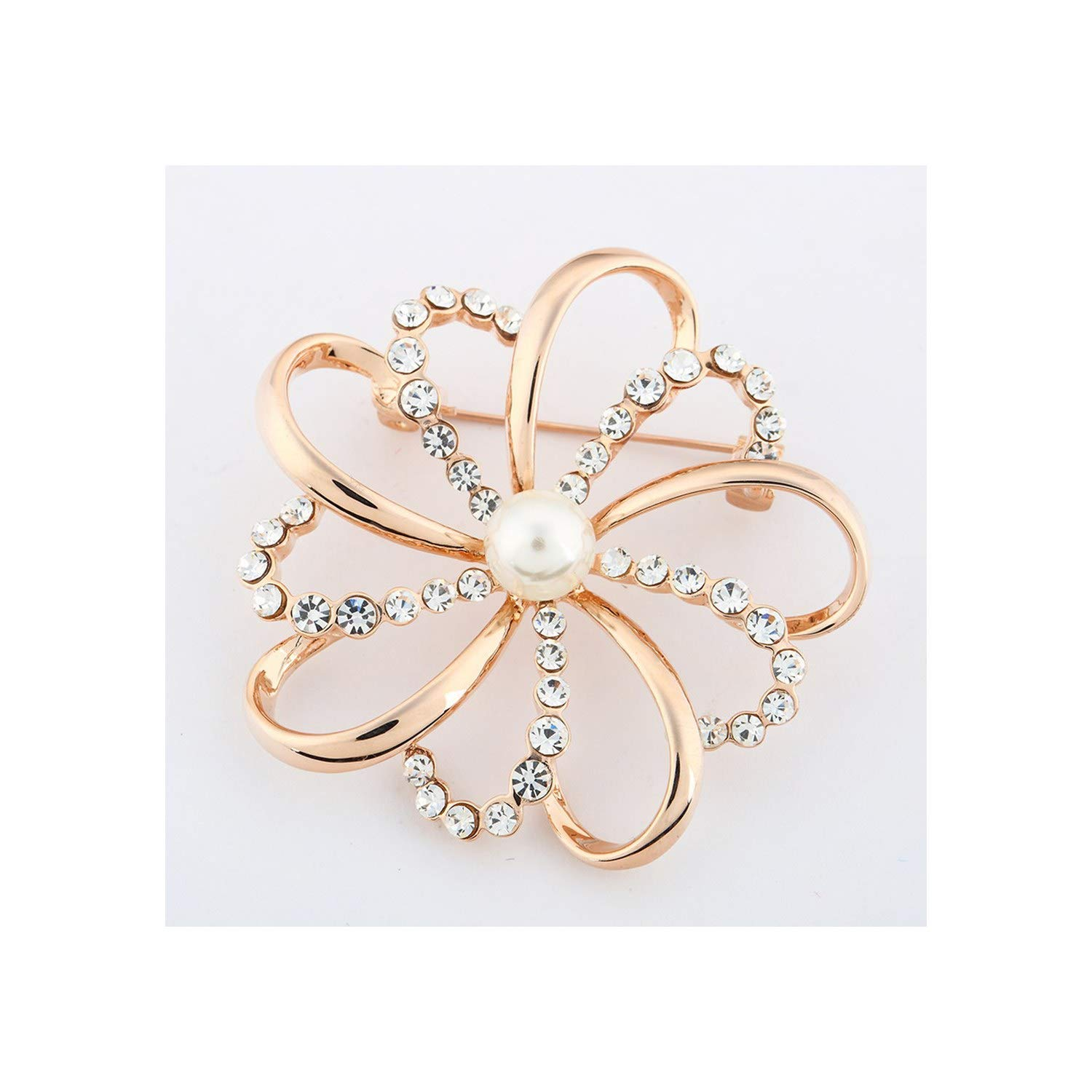 MOAAA Fashion Jewelry Vintage Gold Brooch Pins Crystals Imitation Pearl Flower Brooch Wedding Accessories