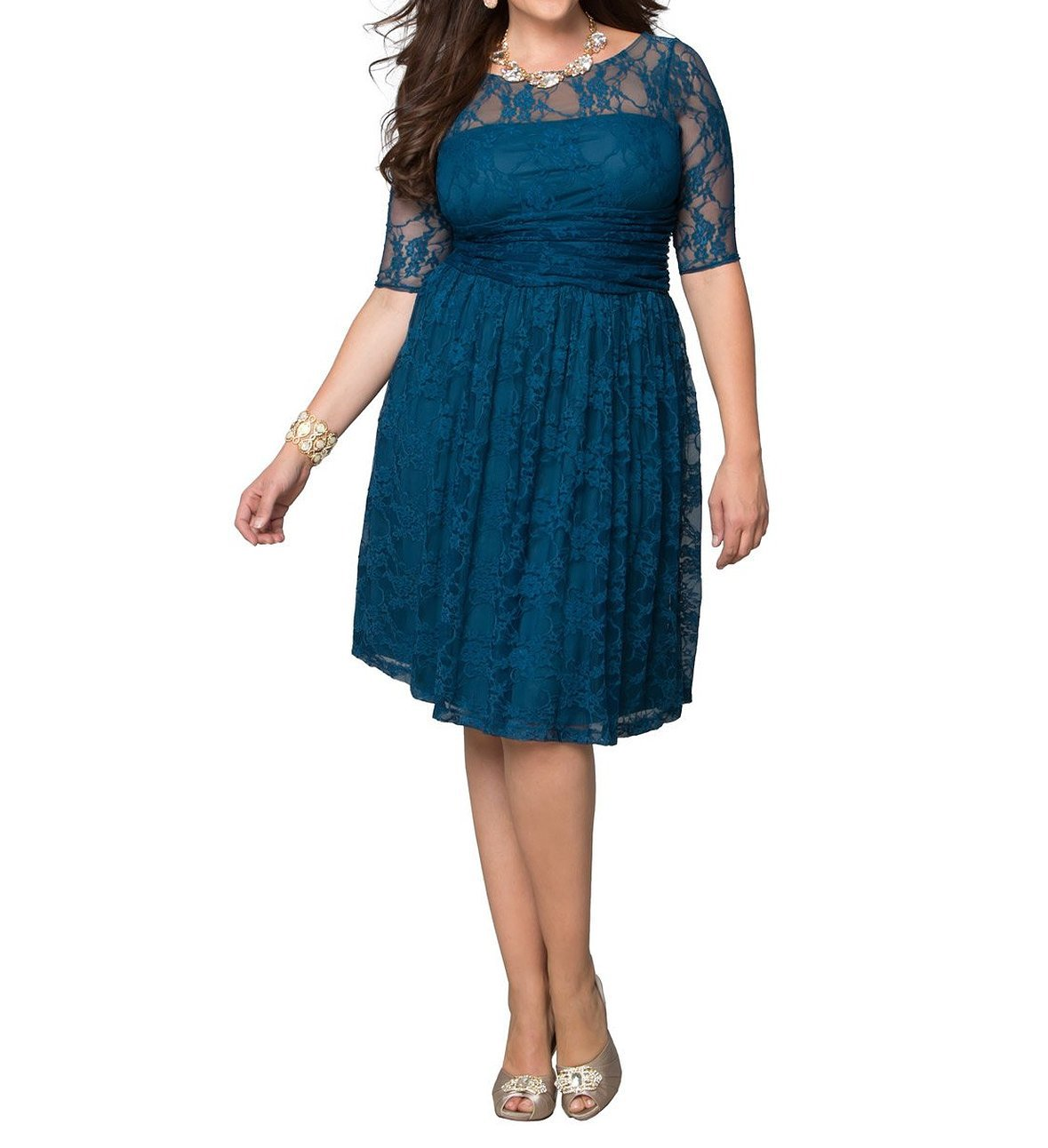 Dilanni Women's Casual Half Sleeves Lace Dress Plus Size (0X-5X) NURPZ002