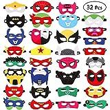 TiiMi Party 32 Pieces Superhero Masks Super Hero Felt Mask Birthday Party Favors for Kids Boys Girls