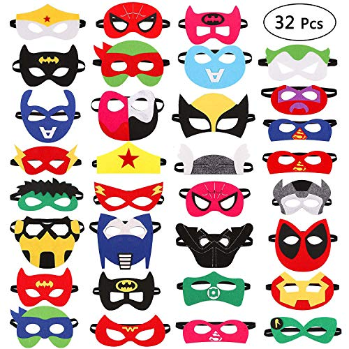 TiiMi Party 32 Pieces Superhero Masks Super Hero Felt Mask Birthday Party Favors for Kids Boys Girls by TiiMi Party