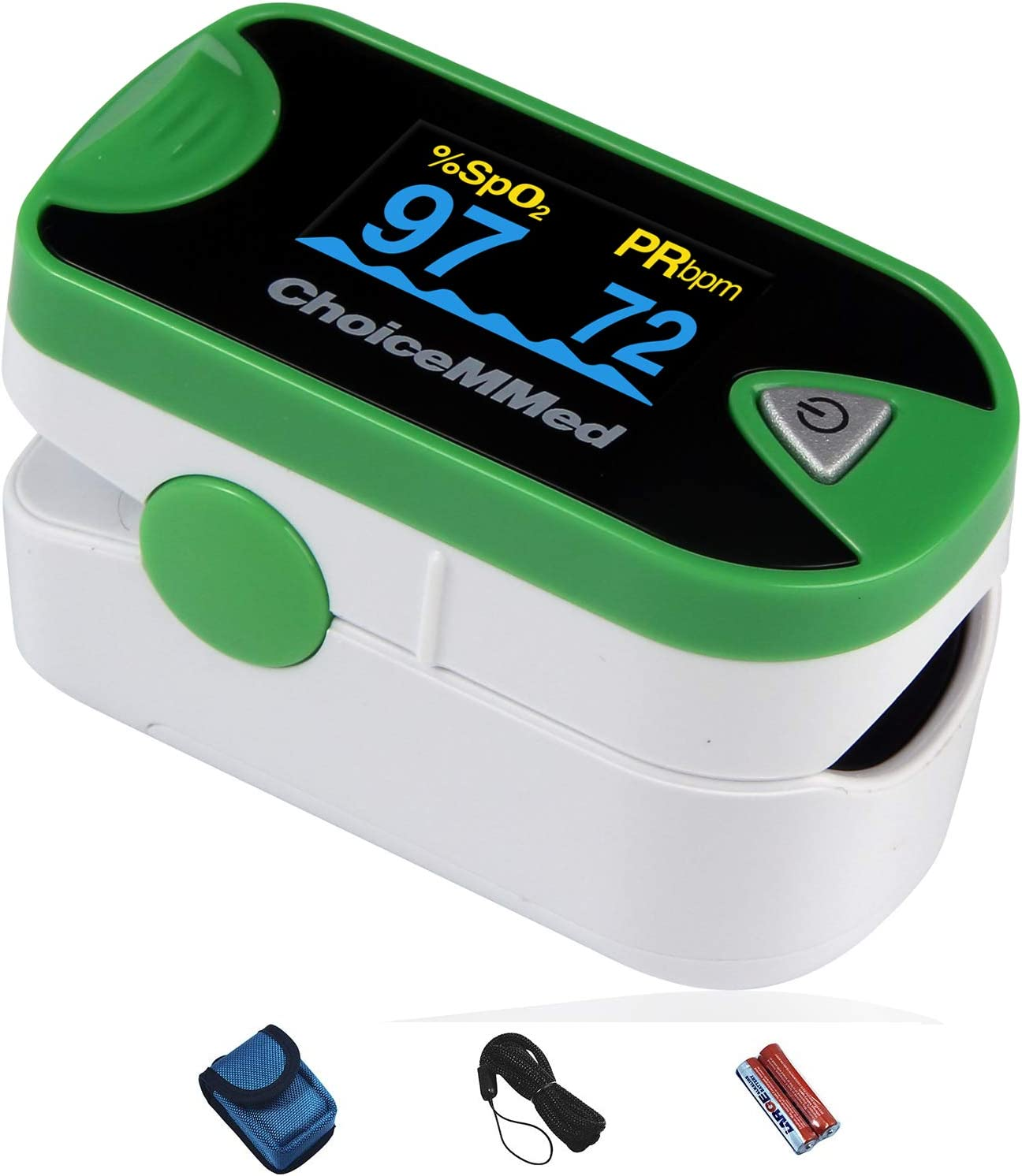 ChoiceMMed Dual Color OLED Finger Pulse Oximeter – Green – Blood Oxygen Saturation Monitor with Color OLED Screen Display and Included Batteries – O2 Saturation Monitor