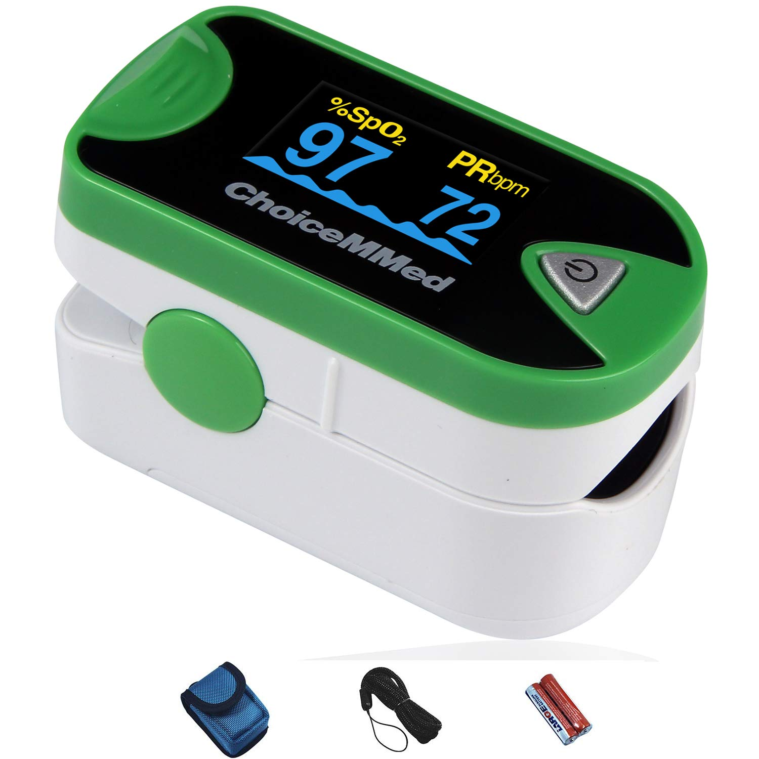 ChoiceMMed Dual Color OLED Finger Pulse Oximeter - Green - Blood Oxygen Saturation Monitor with Color OLED Screen Display and Included Batteries - O2 Saturation Monitor