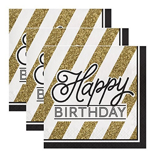 Creative Converting 317546 48 Count Paper Lunch Napkins, Happy Birthday, Black and Gold -