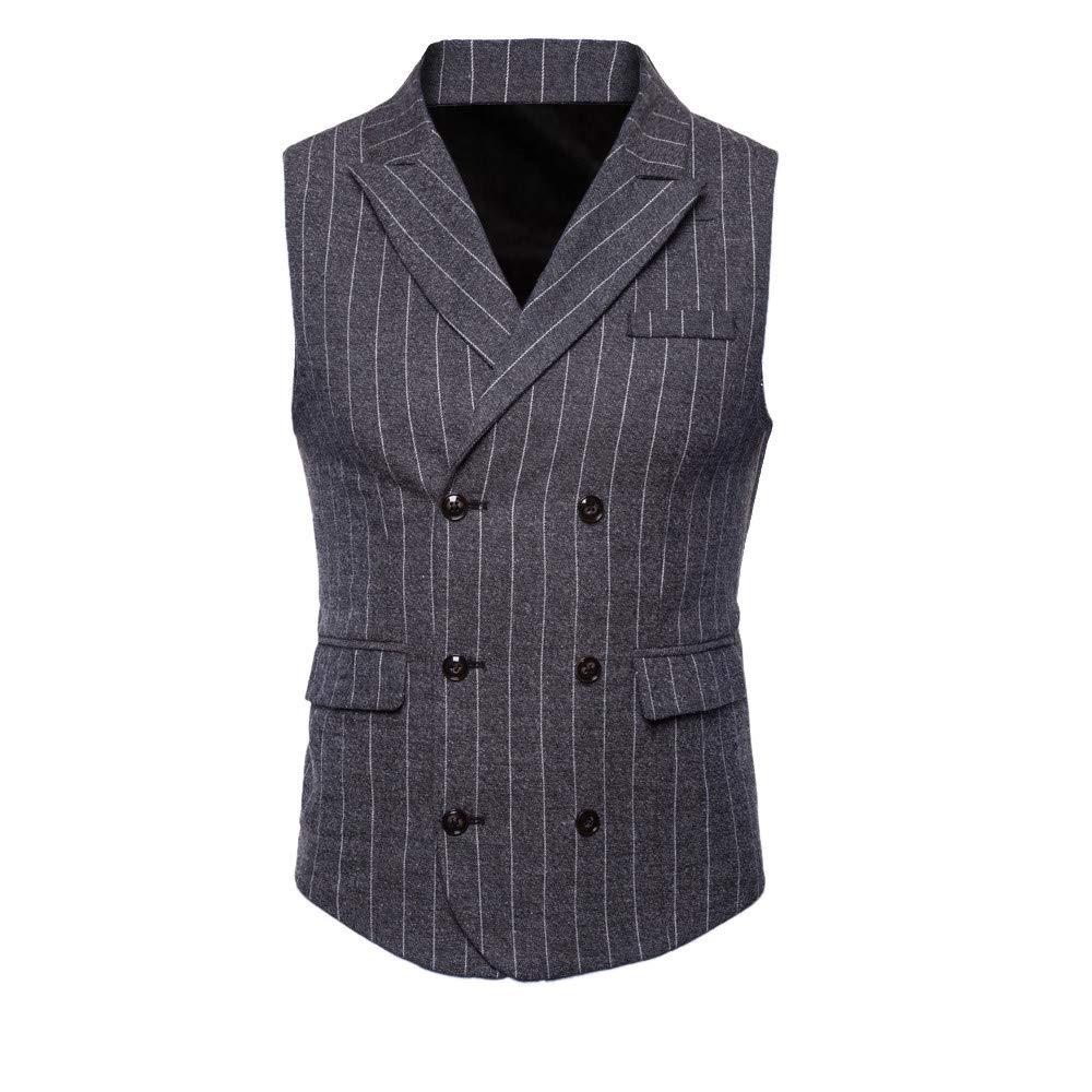 Goldatila Men's Waistcoats Men's Casual Slim Fit Skinny Wedding Dress Vest Waistcoat Men's Striped Sleeveless Jacket Jacket