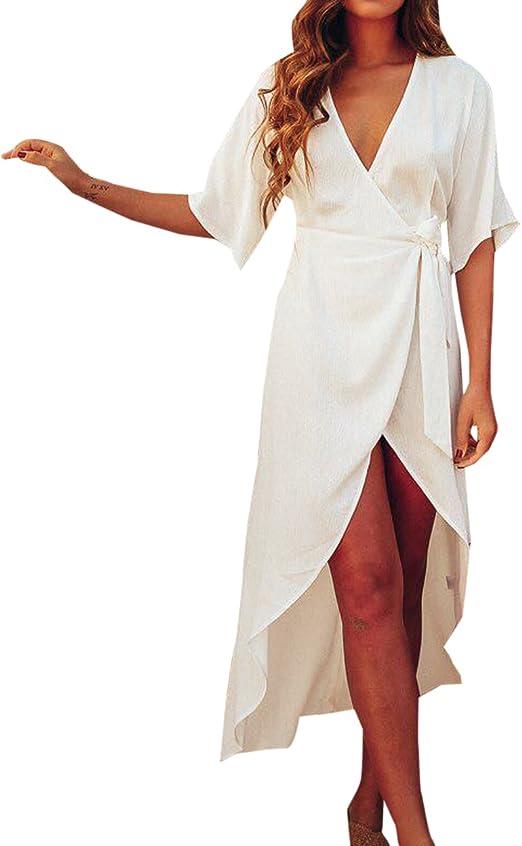 Sommer Damen Mode Pastell Lange Kurz Irregular Kleider Mit Bandage Blusenkleider Strandkleider Sexy V Neck Funfte Hulse Kleid Abendkleider Partykleider Bikini Cover Up Amazon De Bekleidung