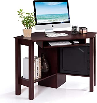 Corner Computer Desk Small Spaces PC Table Bedroom Home Office Study Shelves