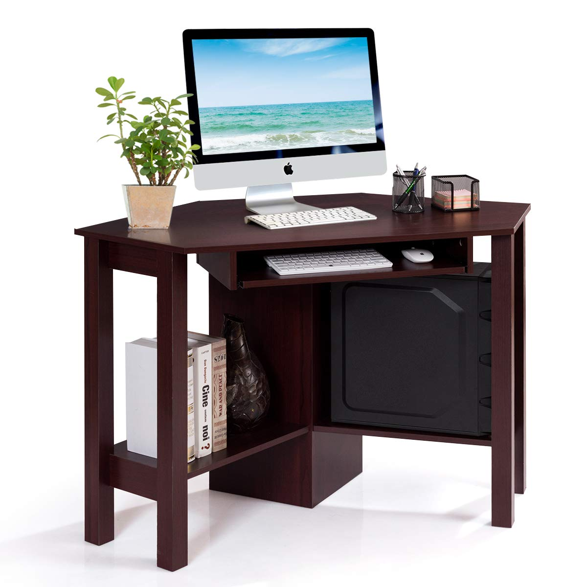 Tangkula Corner Desk, Corner Computer Desk, Wood Compact Home Office Desk, Laptop PC Table Writing Study Table, Workstation with Smooth Keyboard Tray & Storage Shelves by Tangkula