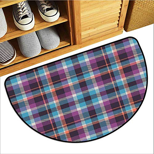TableCovers&Home All-Natural Rubber Doormats, Checkered Custom Rugs for Kids Room, Celtic Tartan Irish Culture Scotland Country Antique Tradition Tile (Violet Light Blue Salmon, H16 x D24 Semicircle) -