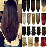 (US) S-noilite 8PCS/SET Full Head Clip in Hair Extensions 140Grams Thick Real Natural Synthetic Hairpiece(26inches-straight, Dark Brown)