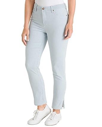 3303857f1c5e6 Chico s Women s So Slimming Striped Side-Slit Hem Girlfriend Ankle Jeans  Size 0 2