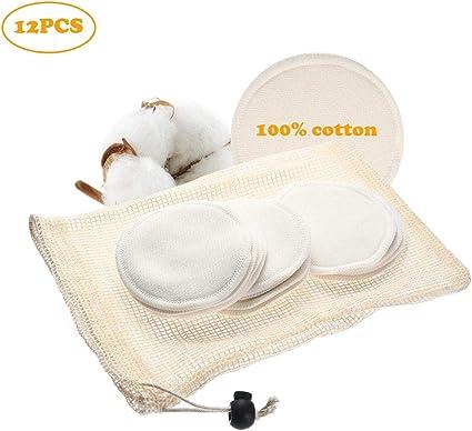 Discos Desmaquillantes Reutilizables, 12PCS de Algodón Argánico de Bambú Rondas con Bolsa de Lavado, Paños de Desmaquillante Facial Suave Lavables para el Removedor de Maquillaje de Ojos/Cara: Amazon.es: Belleza