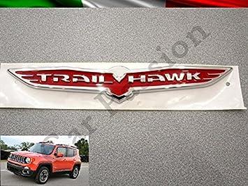 Par texto Escudo Logo Trail Hawl Jeep Renegade Cherokee Grand Cherokee Compass trasera original Rojo: Amazon.es: Coche y moto