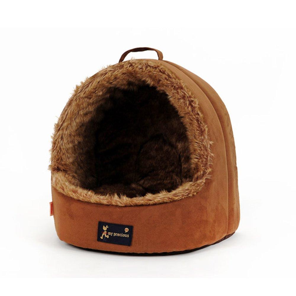 Small Warm pet nest Semi-open Pet House Autumn Winter Warm Mongolian Dog Kennel Dog House Teddy Bear Kennel soft (Size   S)