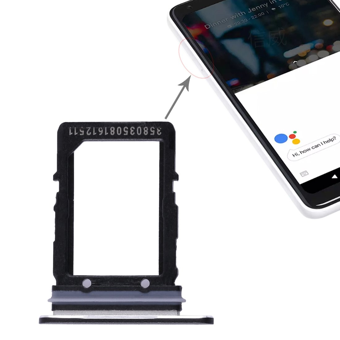 iPartsBuy SIM Card Tray Replacement for Google Pixel 2 XL by iPartsBuy