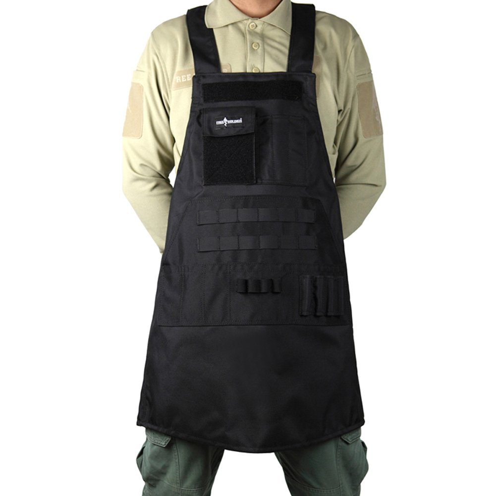 FREE SOLDIER Outdoor Waterproof Work Apron Tool Apron with Pockets - Fits Men & Women(Black)