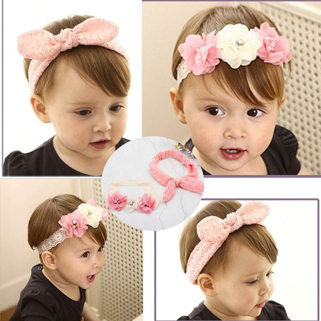 Cute Crown Elastic Headband Baby Girls Princess Lace Flower Birthday Hair Band n
