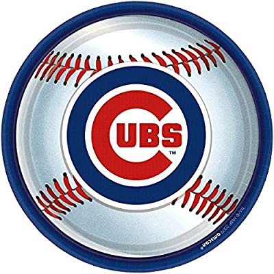 """Chicago Cubs Major League Baseball Collection"" 9"" Round, Party Plates: Kitchen & Dining"