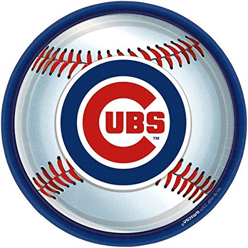 Amscan Chicago Cubs Round Dinner Plates, 9