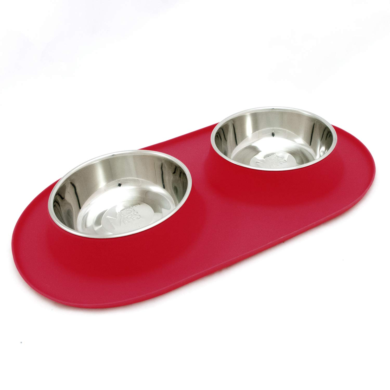 (Large   3 Cups Per Bowl, Watermelon) Messy Mutts Stainless Steel Double Dog Feeder with Non-Slip Silicone Base