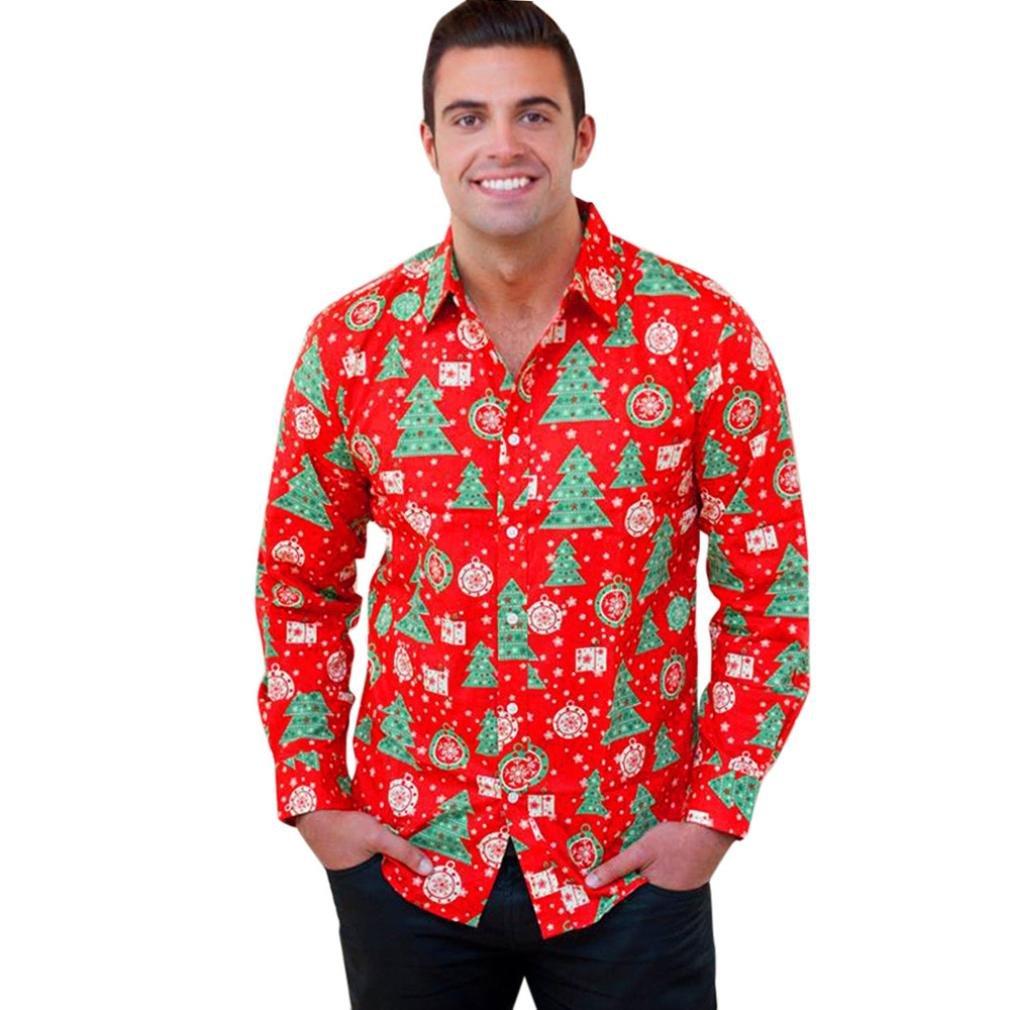 Odejoy Uomini Autunno Inverno Natale Natale Stampa Maglietta a Maniche Lunghe con Camicia a Maniche Lunghe Uomo Camicie Maniche Lunghe Moda Men Shirts Slim Fit Causal Long Sleves Fashion