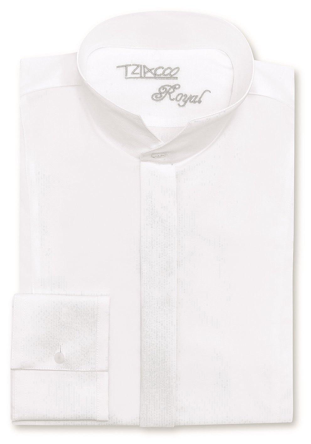 Tziacco Royal Hemd, Stehkragen, weiß, 100% BW weiß