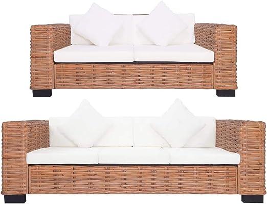 vidaXL Conjunto Muebles Jardín Ratán Natural Patio Terraza 2 Pzas Set Sofás 2 y 3 Plazas Mimbre + 4 Cojines Respaldo + 5 Asiento + 4 Decoración Crema: Amazon.es: Hogar