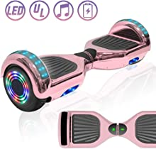 """NHT 6.5"""" Chrome Electric Hoverboard Self Balancing Scooter with Built-in Bluetooth Speaker LED Lights - UL2272 Certified"""