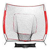 Pinty Baseball and Softball Practice Net 7'×7′ Portable Hitting Batting Training Net with Carry Bag & Metal Frame + Baseball Softball Batting Tee