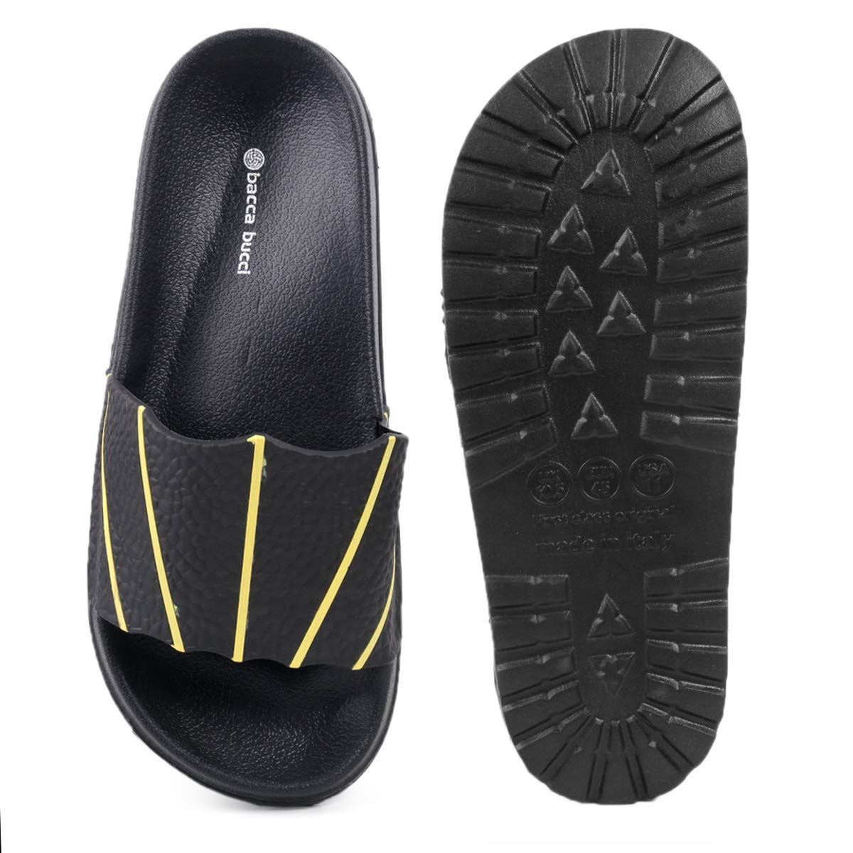 69549fa401b Bacca Bucci Men s Benassi Solarsoft Slide Athletic Sandal Beach Slippers  Slidders Lounge Slide Room wear Flip Flops  Buy Online at Low Prices in  India ...