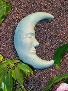 """MOON FACE Wall Plaque 11"""" Celestial BLUE-GREEN STAIN GARDEN Outdoor Indoor CAST CEMENT Made in the USA"""