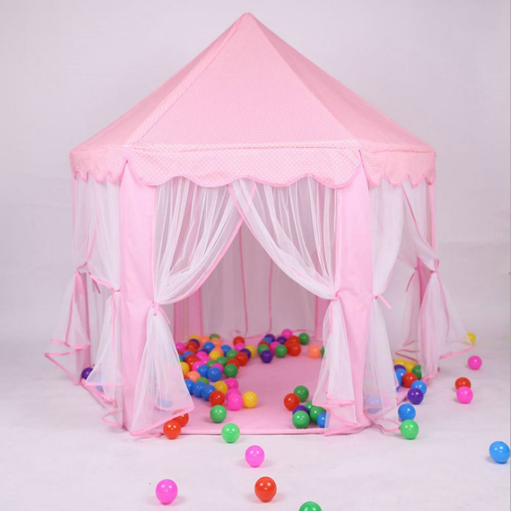 Tenozek Princess Castle Play House Large Outdoor Kids Play Tent for Girls Pink