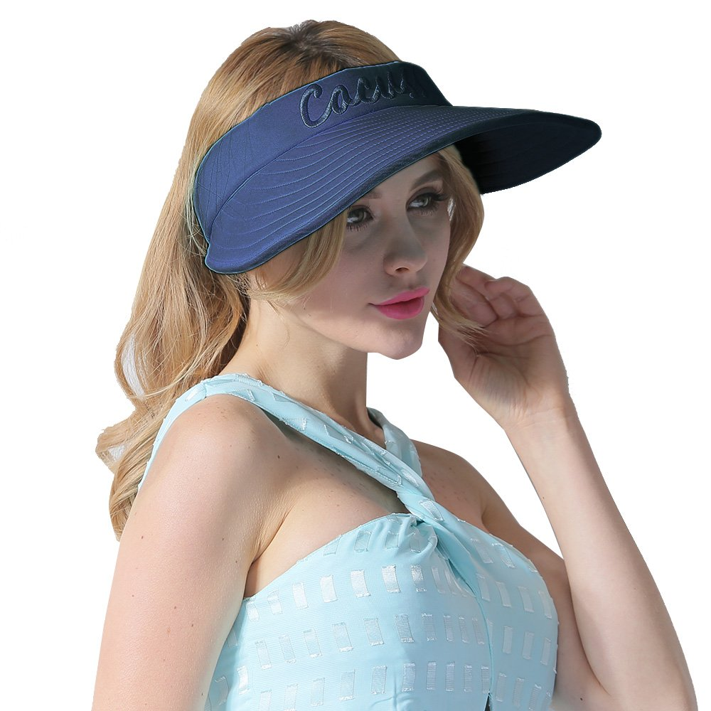 CACUSS Women's Summer Sun Hat Large Brim Adjustable Visor Packable UPF 50+ C0118Black
