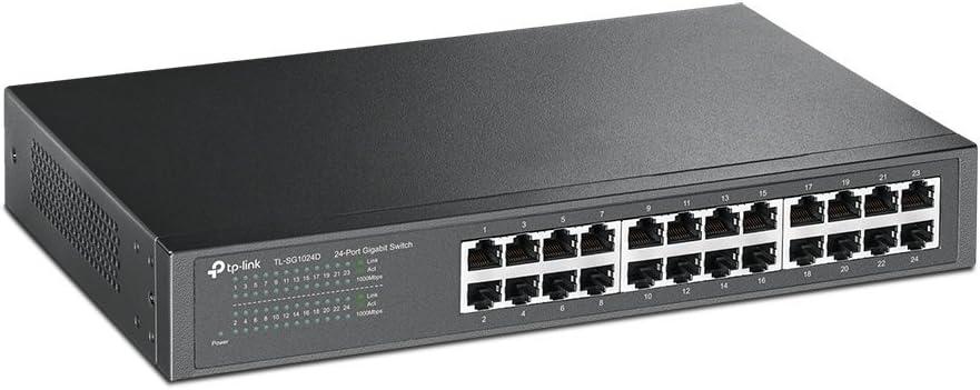 TP-Link 24 Puertos Gigabit Switch | Ethernet Switch No Gestionable | Puertos blindados | Carcasa Metálica | Desktop |Sin ventilador (TL-SG1024D) Gris