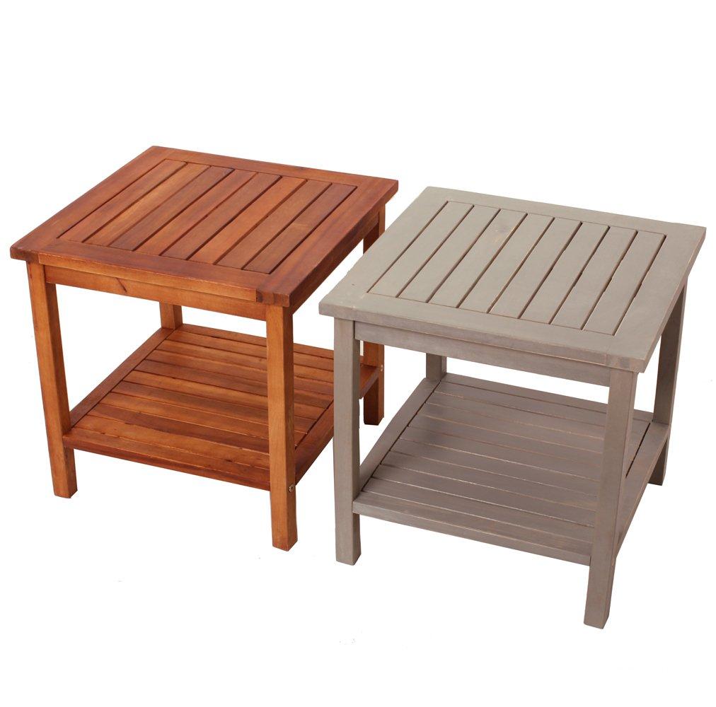 Tavolo tavolino in legno Athene - arredo esterno - tavolo da giardino - campeggio - tavolo da salotto - molti colori - basso - resistente alle intemperie - Dal legno di acacia ( Marrone Naturale) Promafit