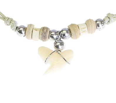 42df7758bb9 Collier de Cordon réglable en Dents de Requins réels avec des Perles -  Style e  Amazon.fr  Bijoux