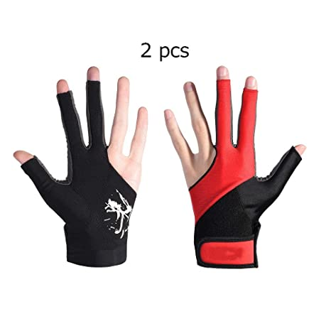 Elastic Breathable 3 Fingers Billiard Glove Pool Snooker Left /& Right Hand Red