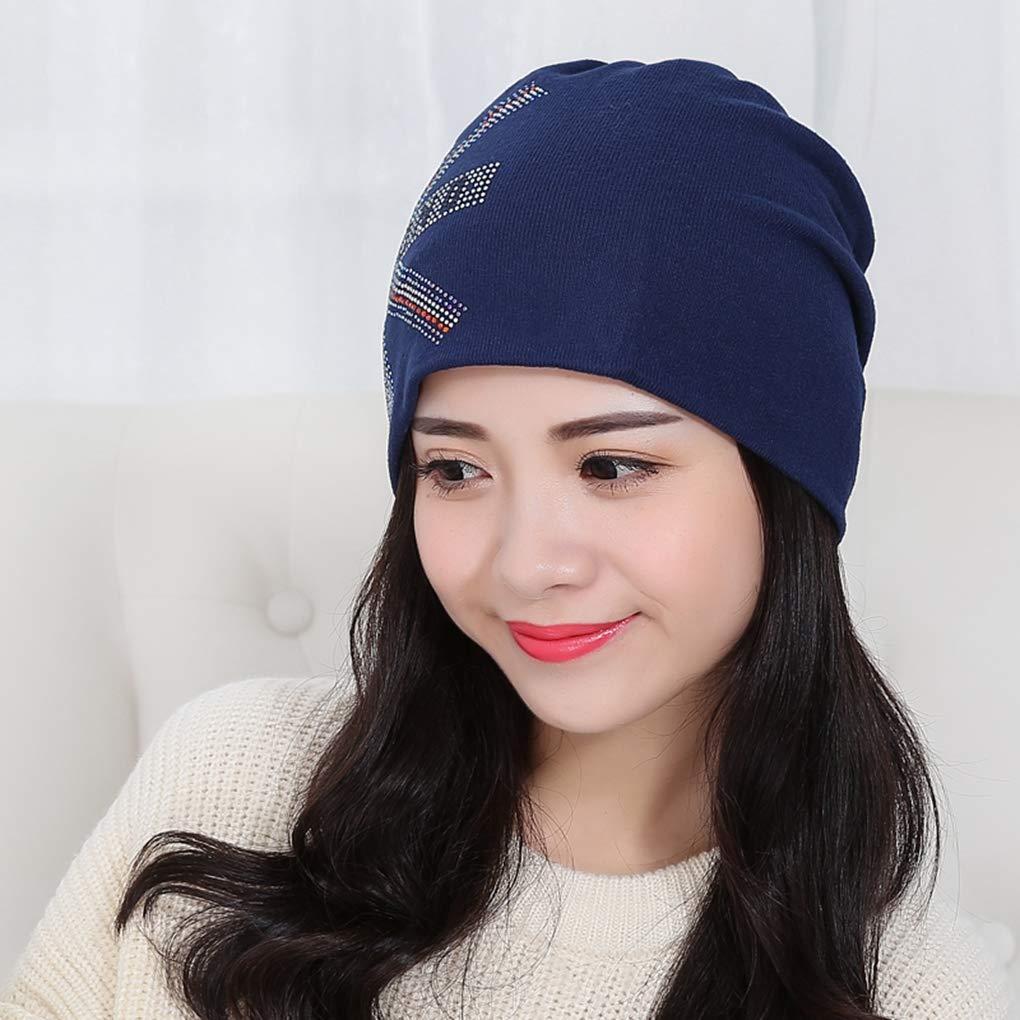 RXIN Autumn and Winter Womens Beanie Knitted Hat Turban British Flag Rhinestone Hats Cap Ladies Lnit Caps for Women Beanies