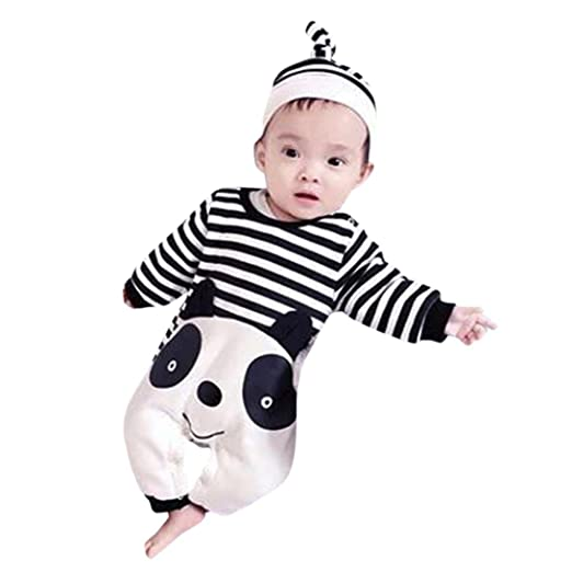 275153103 Amazon.com  Newborn Infant Baby Boy Girl Striped panda jumpsuit ...