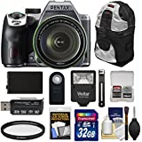 Pentax K-70 All Weather Wi-Fi Digital SLR Camera & 18-135mm WR Lens (Silver) with 32GB Card + Battery + Backpack + Flash + Kit