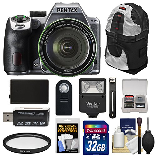 Pentax K-70 All Weather Wi-Fi Digital SLR Camera & 18-135mm WR Lens (Silver) with 32GB Card + Battery + Backpack + Flash + Kit (Flash Pentax Slr)