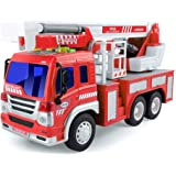 Gizmovine Fire Truck Toy Friction Power with Lights and Sounds, Extending Rescue Rotating Ladder Pull Back Construction…