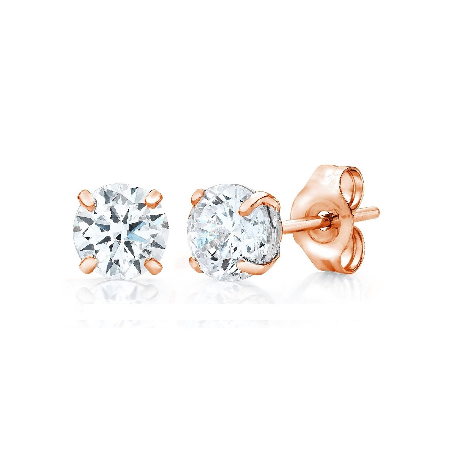 Round Basket Setting 3mm-10mm 3 Color Options Available .925 Sterling Silver Stud Earrings