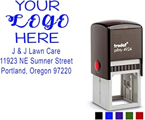 Business Logo Stamp with Address, Details or Message. Choose Your Ink Color - Size 1 5/8 x 1 5/8. (Blue)