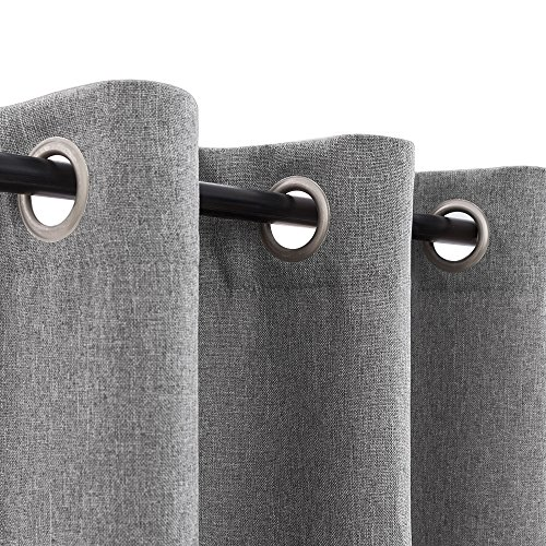 Faux Linen Grommet Room Darkening Curtains for Bedroom Linen Textured Blackout Curtains for Living Room Curtain Panel (1 Pair, 63 Inch, Soft Gray)